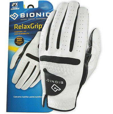 2 BIONIC Mens Relax Grip Golf Glove - Leather Palm - Synthetic Back Left & Right