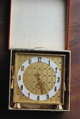 Vintage Imhof Ref.80/355 Gilt Brass Desk Clock New Old Stock In Original Box