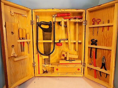 Vintage 1950's Children's Tool Set with Wooden Carrying Case