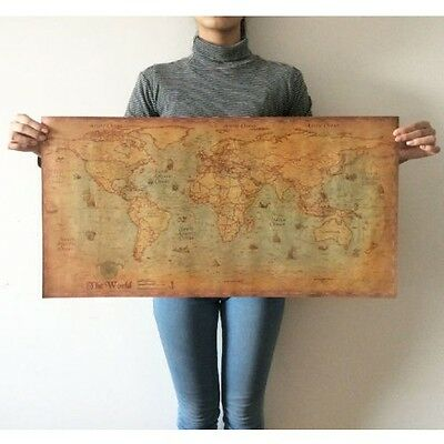 Vintage Map Of The World Wall Sticker Decor Poster Antique Kraft Paper Map 40in