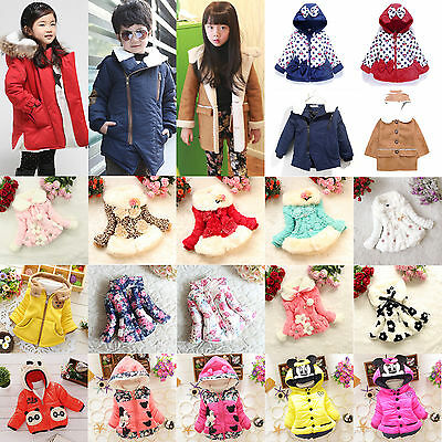 Kids Girls Winter Warm Padded Hooded Coat Jacket Parka Children Outwear Clothes
