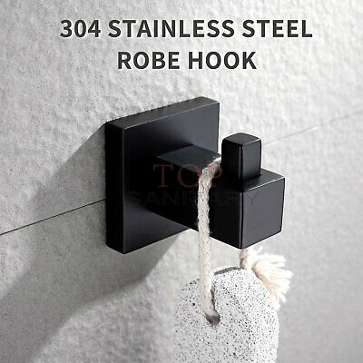 Black Hook Stainless Steel Robe Hanger Holder Clothes Hat Kitchen Bathroom Rings