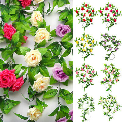 2 x 8Ft Artificial Fake Silk Rose Flower Ivy Vine Garland Wedding Party Home