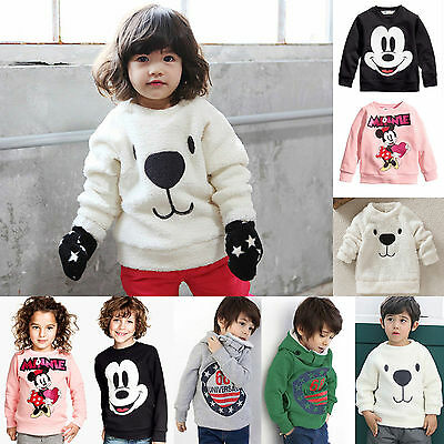 Toddler Kids Boys Girls Fleece Top Hoodie Sweatshirt Pullover Jacket Coat Jumper