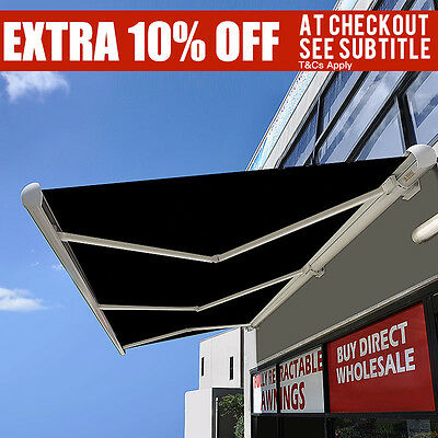 New Full Cassette Motorised Outdoor Folding Arm Awning with hand 4M / 6M x 2.5M