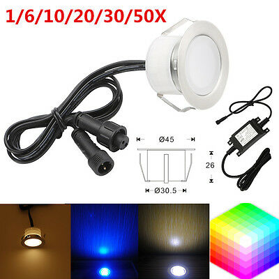 1/6/10/20/30/50X 1W 12V 45mm Outdoor Garden Stair Path LED Decking Soffit Lights