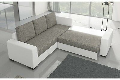 Brand New Modern Fabric Corner Sofa Bed CANIS With Storage Box Left Right Hand