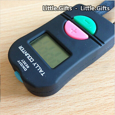 Digital Hand Tally Counter Electronic Manual Clicker Golf Gym Security LCD Cord