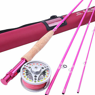 5WT Fly Fishing Combo 9FT Fly Fishing Rod & Fly Reel & Line Pink for girls gift