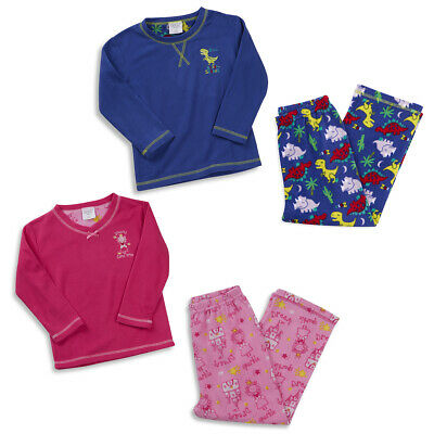 MINIKIDZ Infant Kids Girls Boys Micro Fleece Pyjamas Pj Set Warm Soft Ages 2-6