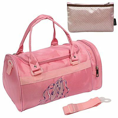 kilofly Ballerina Ballet Slippers Dance Bag with Side Compartment + Handy Pouch