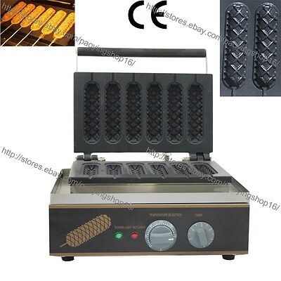 Commercial Nonstick Electric 6pc Lolly Waffle Dog on A Stick Maker Baker Machine