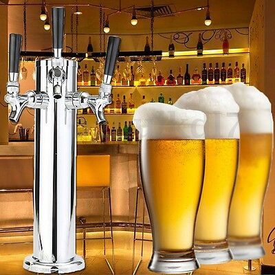 Stainless Steel Triple Tap 3 Faucet Draft Beer Tower Bar Homebrew For Kegerator