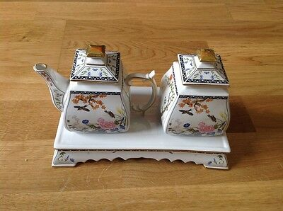 Franklin Mint, Milk Jug & Sugar Bowl with Stand Flowers & Birds of the Orient .