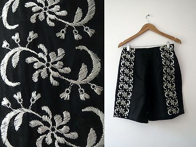 Vintage 50s Black  Embroidered High Waist Shorts S Buy 3+ items for FREE Postage