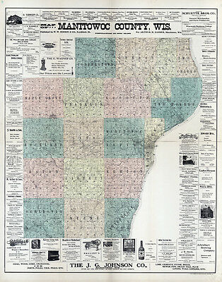 1902 Map of Manitowoc County Wisconsin