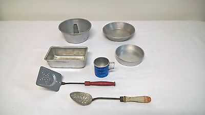Vintage 7 Piece Childrens Toy Aluminum Kitchenware & Utensils