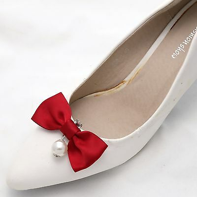 Fashion Red Bow Pearl Drop High Heel Shoe Clips Pair