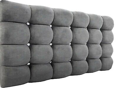 Headboard  Height  26''  Chennile Fabric- Cubes Design ALL SIZES & Many Colours