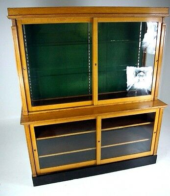B398 Large Oak Country Store Showcase, China Display Cabinet with Sliding Doors
