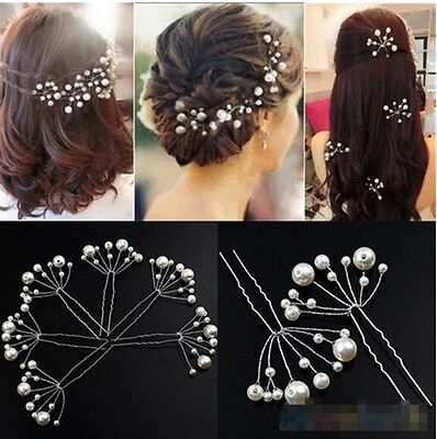Wedding Bridal Bridesmaid Pearls Hair Pins Grips Hair Jewelry Lot Accessories