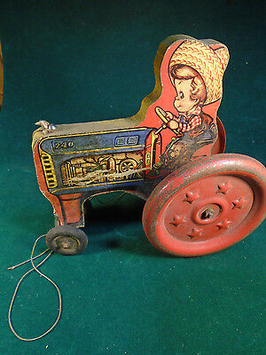 VERY EARLY WOODEN PULL TOY #240 TRACTOR w/FARMER -    (T-135)