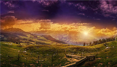 Switzerland Mountains Sunset Full Wall Mural Photo Wallpaper Print Home 3D Decal