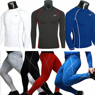 Mens Compression Base Layer Bodybuilding Stretch Breathable Tights T-shirt Pants