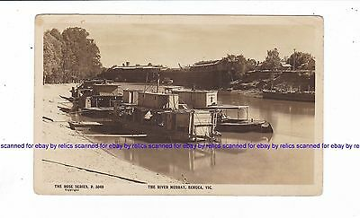 "ECHUCA WHARVES  "" P.S. COLONEL"" & BOATS River Murray Vintage Rose RPPC Australia"
