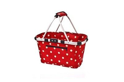 Shop & Go Collapsible Carry Basket - Red with White Polka Dots
