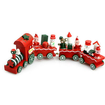 Cute Charming 4 Piece Wooden Christmas Train Santa Tree Ornament Decor Gift