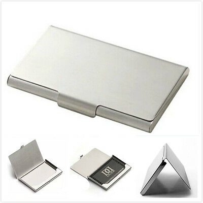 1pc Portable Business Credit ID Card Holder Box Stainless Steel Pocket Case