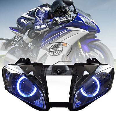 Headlight Red Angel Eyes Projector HID High Low beam For Yamaha YZF R6 2008-2015