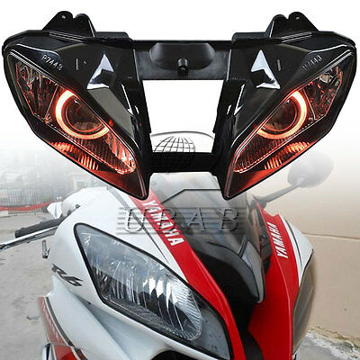 Set Red Angel Eyes Assembly HID Headlight Projector For Yamaha YZF R6 2008-2015