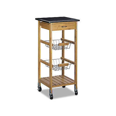 Kitchen Cart Bamboo Trolley Serving Cart Kitchen Island Rolling w Wheels, Marble