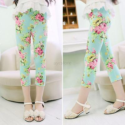 Baby Kids Girls Child Printed Leggings Pant Trouser Floral Age  2-8 New