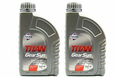 2L 75w90 Fuchs Titan Gear syn 75W-90 Oil Semi Synthetic Gearbox Fluid 2 Litre