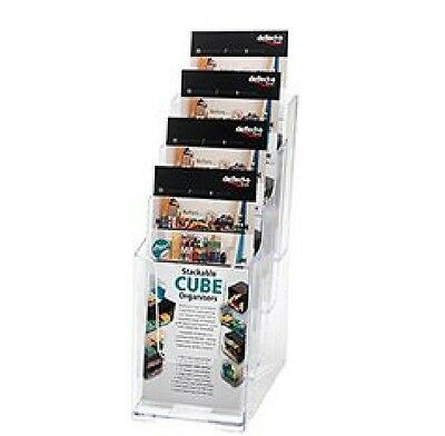 DEFLECT O 1/3 A4 size clear acrylic brochure 4 LEVELS stand