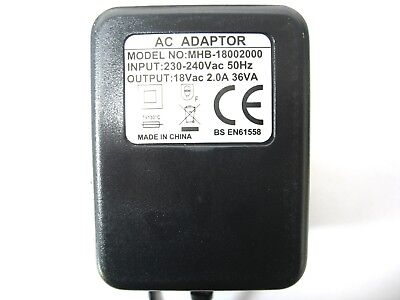 2 Amp 2000Ma 18 Volt Ac/ac Output Mains Power Adaptor/supply/charger/transformer