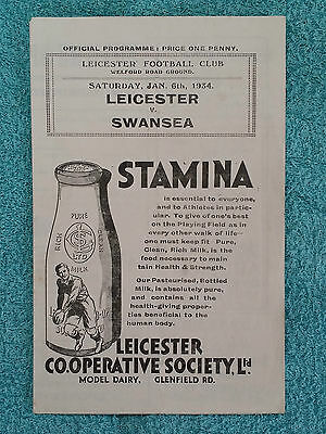 1934 - LEICESTER v SWANSEA PROGRAMME - Rugby Union - Four Pages