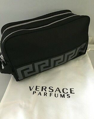 Versace Parfums Black mens Toiletry / Wash Bag with Versace Dust Sac - New
