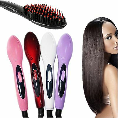 Fashion Electric Hair Straightener Comb Irons Brush Thermostatic Ceramic Tools