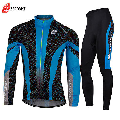 Pro Men's Team Cycling Bike Bicycle Clothing Suit Long Sleeve Jersey & Pants Set