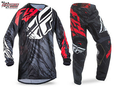 Fly Racing Kinetic Relapse Motocross Combo 2017 Schwarz Rot Enduro Hose Jersey