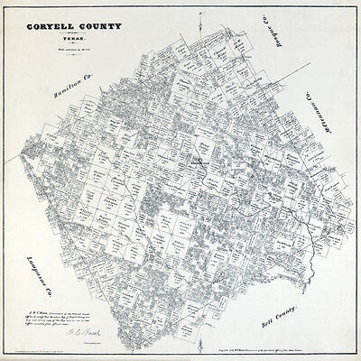 1879 Farm Line Map of Coryell County Texas