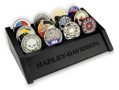Harley-Davidson Small Wooden Coin Holder Display, Holds 24 Coins, Black 8002688
