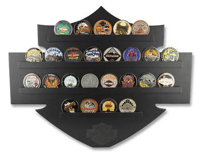 Harley-Davidson Bar & Shield Wall Coin Display, Holds 25 Coins, Black 8005139