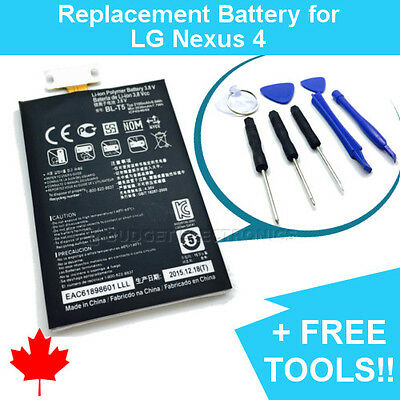 NEW LG Nexus 4 E960 Replacement Battery BL-T5 2100mAh Canada with FREE TOOLS