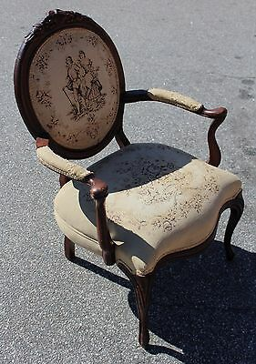 Antique French Louis XV Style Needlepoint Arm Chair