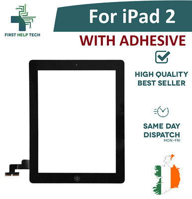For Apple iPad 2 Touch Screen Digitizer Glass Home Button With Adhesive Black